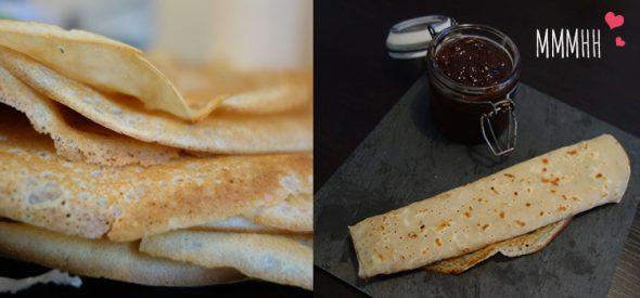 Crêpes gourmandes et leur pâte à tartiner choco/coco (sans gluten/sans lactose)
