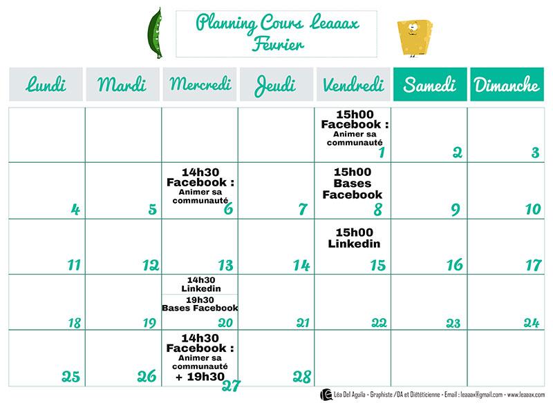 Planning cours Février