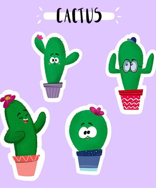 Stickers Cactus en Vinyle Mat