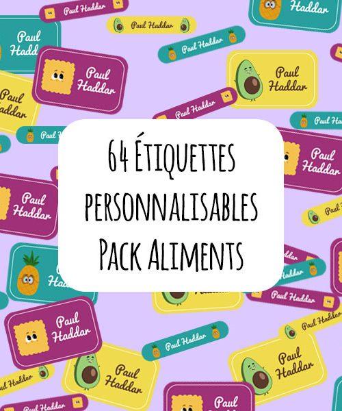 Étiquettes scolaires personnalisables / Pack Aliments