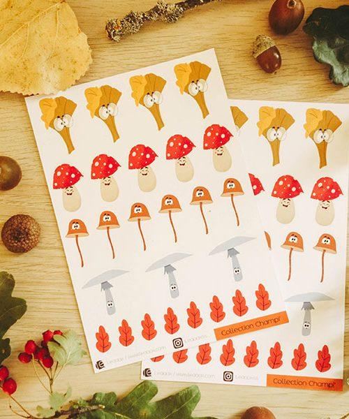Planche Stickers Champignons