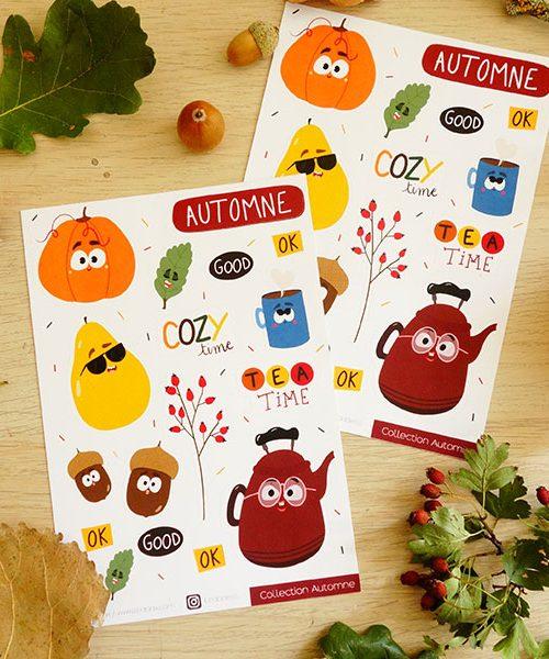 Planche Stickers Automne