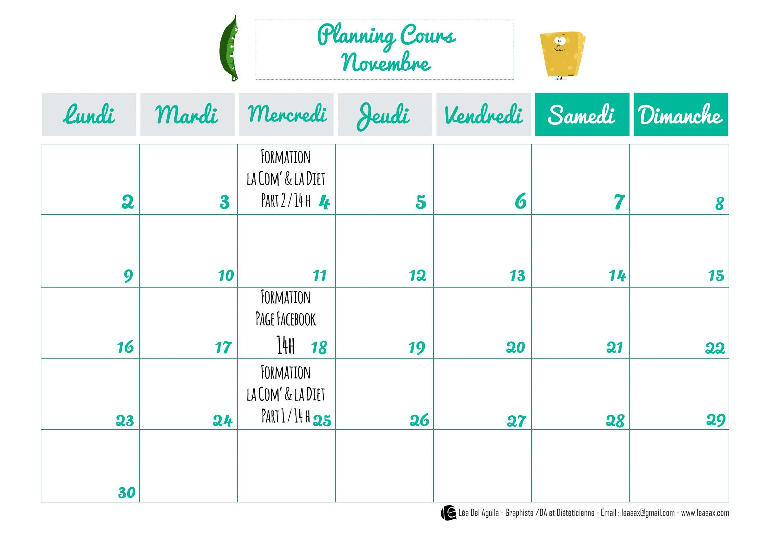 Planning formation communication Novembre