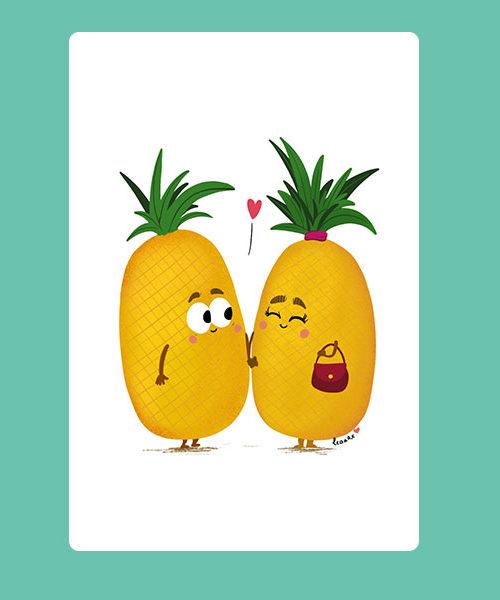 Carte Inktober Ananas Amoureux