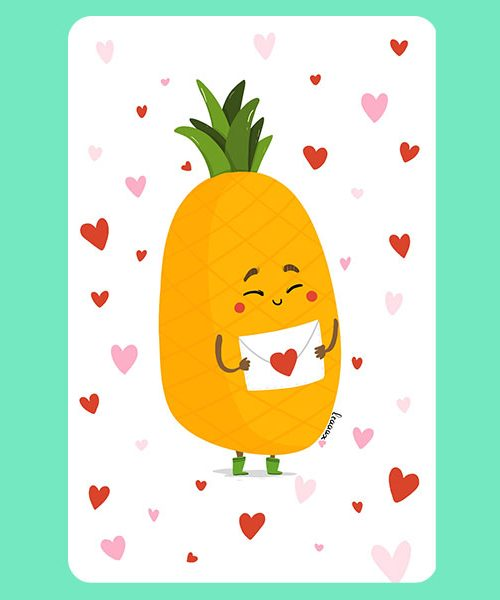 Carte Ananas aux mots doux