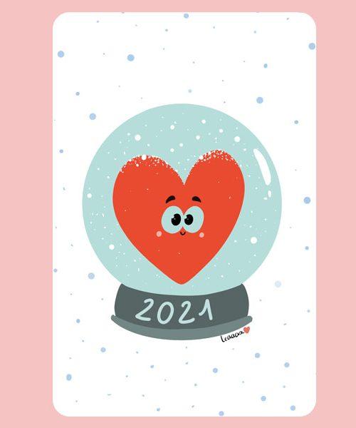 Carte Postale Boule à neige 2021