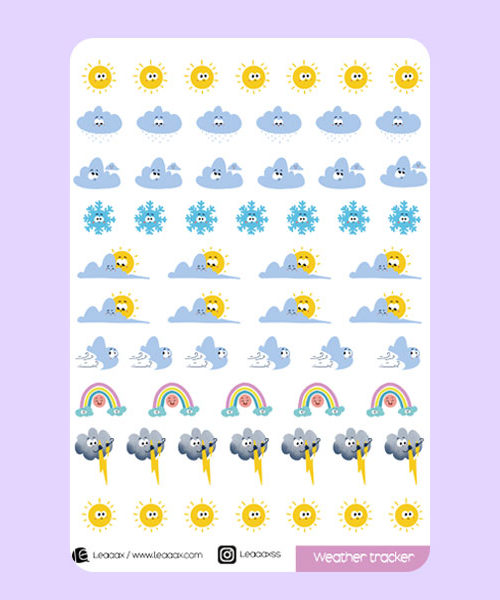 Planche de stickers weather tracker
