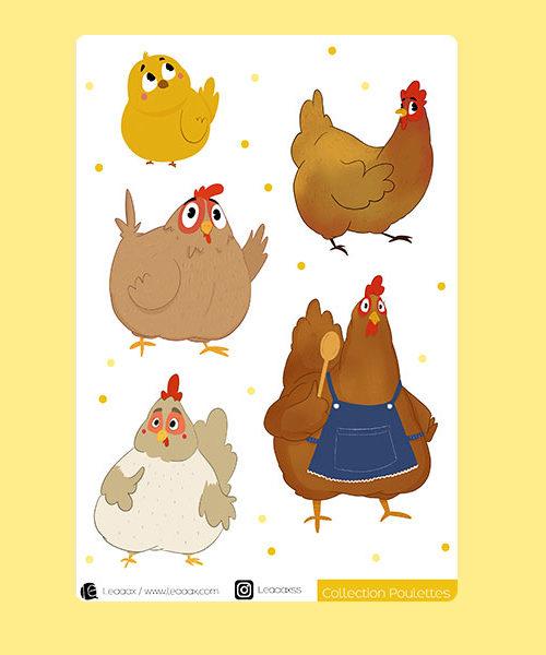 Planche de stickers «Poulettes»
