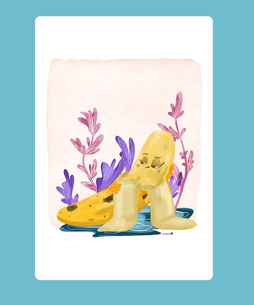 Inktober 08 Carte Banane Alanguie