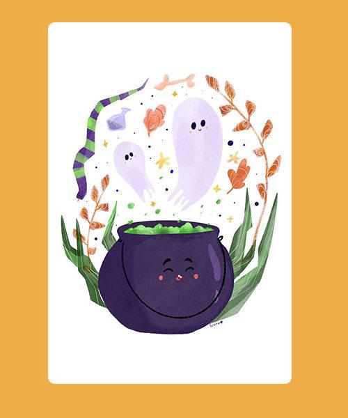 Inktober 09 Carte Halloween and Ghosts