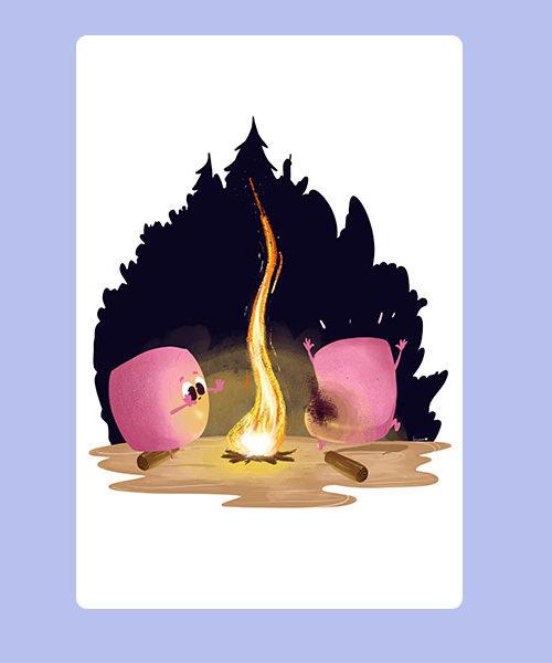 Inktober 18 Chamallow on fire